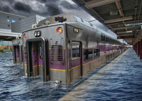 A rendering of a flooded train station.