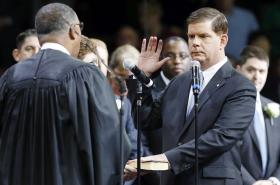Boston Mayor Marty Walsh takes the oath of office.