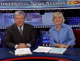 Chet Curtis and Emily Rooney co-anchored the 2004 Democratic National Convention, in Boston.