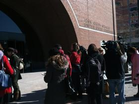 Media gathered outside the courthouse after Dzhokhar Tsarnaev's trial date was set.
