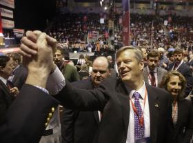 Charlie Baker, the frontrunner and favorite in the Republican nomination process for governor, greets attendees at the Massachusetts Republican State Convention in Boston Saturday, March 22, 2014.