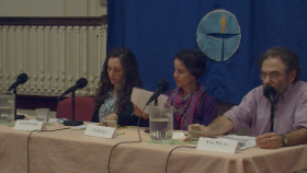 Laila Bernstein, Tali Ruskin, and Alan Meyers at First Parish Church