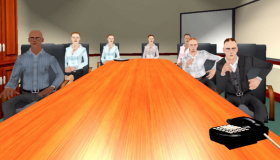 A hostile virtual boardroom greets a speaker in a public speaking session.