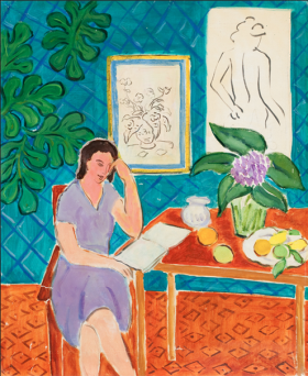 Elmyr de Hory (1906-1976), Woman at Table, in the style of Henri Matisse (French, 1869 – 1954), ca. 1975, oil on canvas. Collection of Mark Forgy. Photo: Robert Fogt.