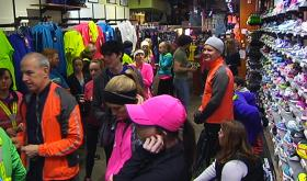 Shoppers pack Marathon Sports on Boylston Street.