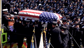 Fallen firefighter Michael Kennedy's funeral drew throngs of firefighters from departments near and far.