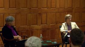 Jo Radner and Mary McGrath at Cambridge Forum