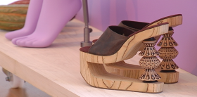 Fashion-forward platforms inspired by traditional Mexican styles on display at the Isabella Stewart Gardner Museum.