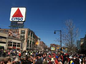 Kenmore Square, on Marathon Monday 2014.