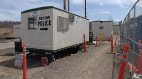 A trailer near the under construction town hall and police station in Monson.