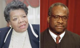 Maya Angelou in 1992, left, and Clarence Thomas in 1993.