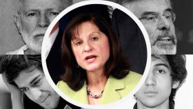 U.S. Attorney Carmen Ortiz, surrounded by some of her high-profile cases.