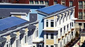 Solar panels sit atop the Old Colony Housing Project in South Boston.