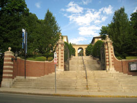 The main gate of Tufts University in Medford.