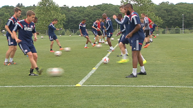 Players drill at the New England Revolution Academy in Foxboro.