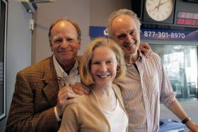 Livingston Taylor, left, poses with Boston Public Radio hosts Margery Eagan and Jim Braude.