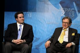 Robert Costa, left, and Ralph Hallow of the Washington Times at the CPAC 2013 conference.