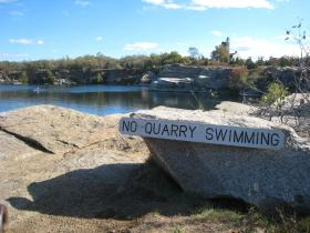 Halibut Point State Park, in Rockport, Mass., where swimming in the granite quarry is prohibited by the Department of Conservation and Recreation.