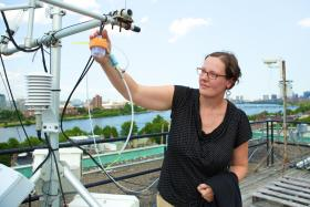 Lucy Hutyra is a scientist at Boston University, where she has a rooftop lab with contraptions that look like a souped-up weathervane and an old fashion TV antenna. There she tries to come up with bottom-up budgets of where all the CO2 is coming from.