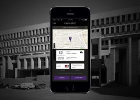 The Haystack parking app is displayed on an iPhone.
