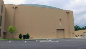 The exterior of a sound stage at New England Studios in Devens.