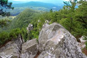 View looking South East from Devils Pulpit on Monument Mountain near Great Barrington, MA.