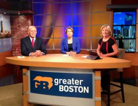 Democratic candidates for Massachusetts attorney general Warren Tolman and Maura Healey with Emily Rooney.