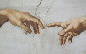 Detail of 'Creation of Adam,' a fresco by Michelangelo in the Sistine Chapel.