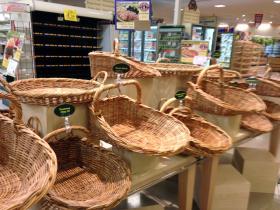 Baskets sit empty at Market Basket in Burlington.