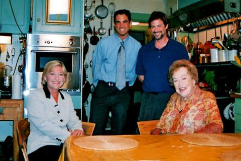 Emily Rooney, Jared Bowen, videographer Joel Coblenz and Julia Child in Child's famed kitchen on Sept. 10, 2001