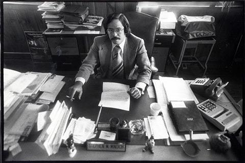 stephen mindich in his office in the early years of the publication
