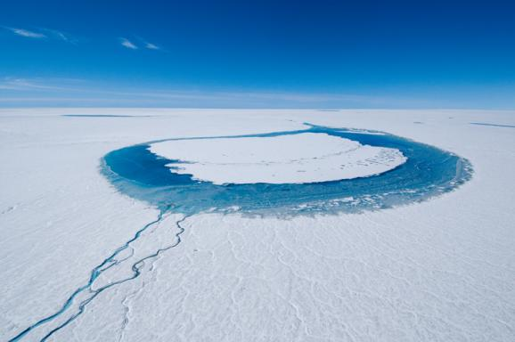 Each summer, a portion of the surface of Greenland&#039;s ice sheet melts, forming meltwater lakes. 