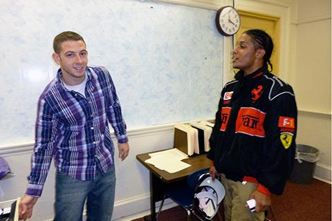 Giovanni and his career counselor, Brockton, Champion High School