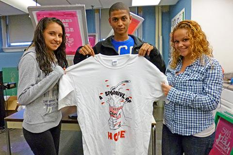 In the silkscreen workshop, students design and sell T-shirts.