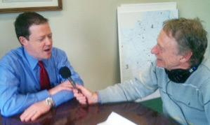 WGBH's Bob Seay, right, interviews Richard Davey of the Mass. Department of Transportation