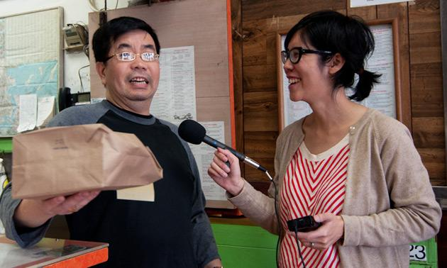 Val Wang interviews John Chan at Yum Yum on Dot Ave.