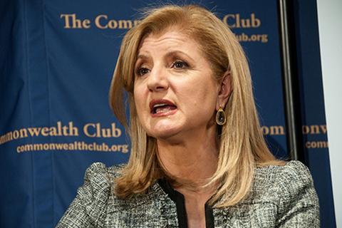"Arianna Huffington, founder of The Huffington Post, at the Commonwealth Club during her book tour for ""Third World America,"" journalism, digital, news"