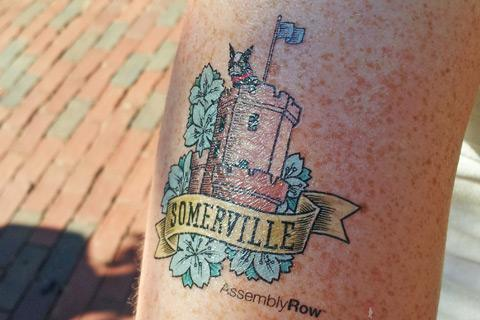 An Assembly Row temporary tattoo handed out at Somerville's ArtBeat festival on July 21, 2012.
