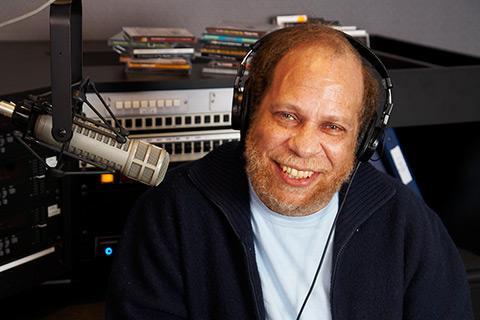 Longtime WGBH jazz host Eric Jackson in the studio