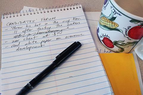 A reporter's election-year toolkit: coffee mug, steno pad and clichés.