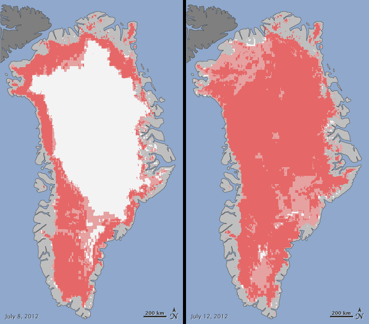 In mid-July, satellite images of Greenland revealed unprecedented melting at the surface of the ice sheets.
