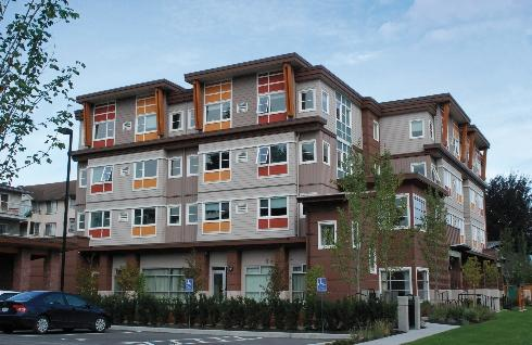 This four-floor building in British Columbia was reconfigured from single-floor temporary housing for Olympic athletes during the 2010 Winter Olympics in Vancouver. It also boasts good energy efficieny