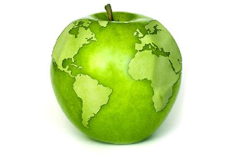A globe shaped like a Granny Smith apple