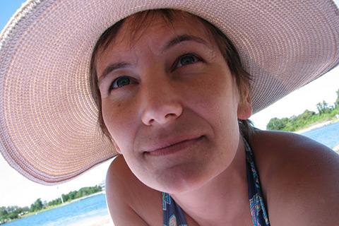 WGBH science editor Heather Goldstone at a Cape Cod beach on Labor Day 2012.