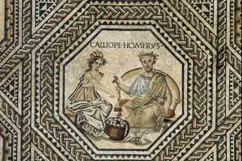 "Storytelling is an ancient custom. Here, a mosaic depicts Homer, the storyteller credited with the epics ""The Iliad"" and ""The Odyssey."""