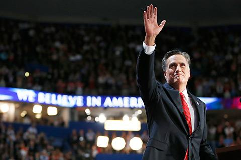 Mitt Romney waves to delegates after speaking at the Republican National Convention on Aug. 30, 2012