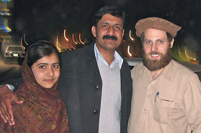 Malala Yousafzai, Ziauddin Yousafzai, and Adam Ellick. Photo courtesy Adam Ellick.