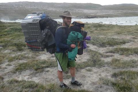 Ben Linhoff hauled 800 pounds of gear in ten 2-mile trips from his field camp to a river crossing at the end of the nearest road.