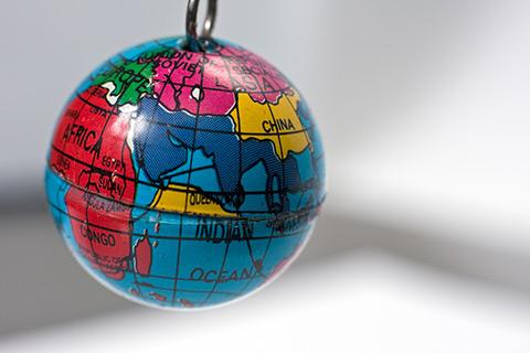 A key chain in the shape of the globe