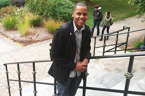 Vladimir Saldana, a senior at UMass Lowell and an immigrant from the Dominican Republic, will soon vote in his first presidential election.